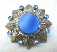 Vintage Blue Satin Glass And Rhinestone Floral Design brooch.